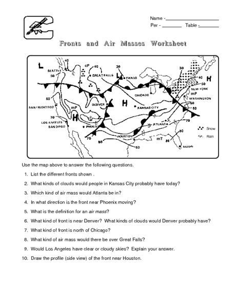 Weather Fronts Worksheet Worksheets Ratchasima Printable Worksheets And Kids Activities