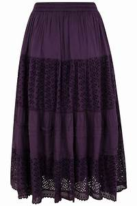 Purple Crinkle Cotton Tiered Maxi Skirt With Broderie Anglaise Plus size 16 to 36