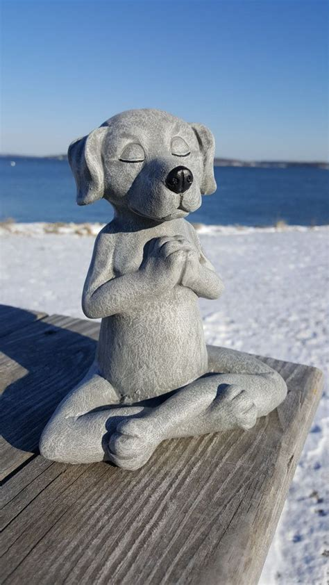 dog buddha meditating dog statue yoga dog garden