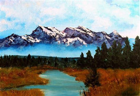 Misty Mountain Scene Painting By Rebecca Davis