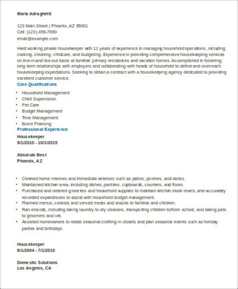 Sle Resume For Housekeeper by Sle Resume Executive Housekeeper Help 28 Images Cover Letter Sle For Inbound Customer