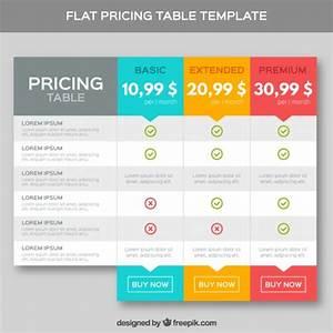 Modelo de precificação tabelas no design plano | Baixar ...
