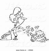 Cash Coloring Spending Businesswoman Cartoon Vector Outline Register Pages Leishman Ron Template Clipart sketch template