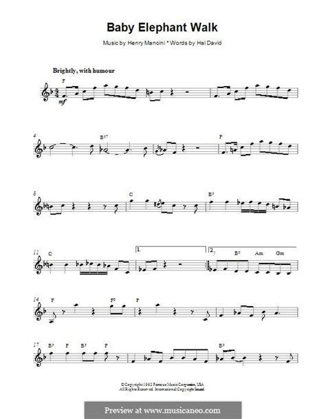 baby elephant walk melody line lyrics and chords by baby elephant walk melody line lyrics and chords by
