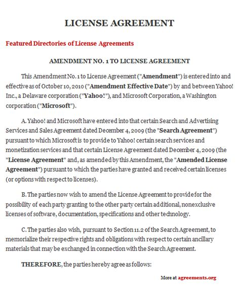 license agreement sample license agreement template