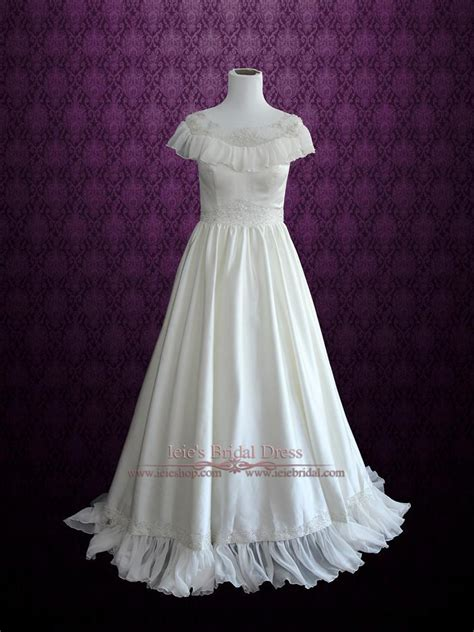 victorian vintage style wedding dress  modest neckline