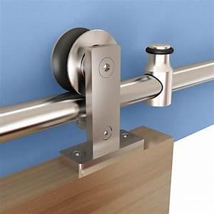 Rolling Barn Door Hardware Kit, Stainless Steel, Top Mount for Wood Doors Rockler Woodworking