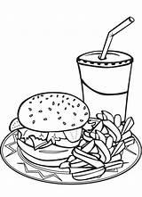Coloring Hamburger Fries French Junk Burger Pizza Milkshake Menu Sheet Fry Sheets Kleurplaten Kleurplaat Colouring Coloriage Drink Printable Malvorlagen Clip sketch template