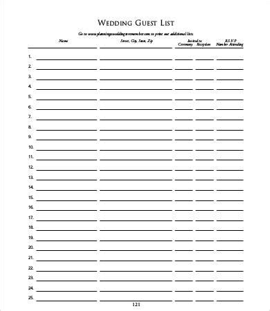 guest list templates   word  documents