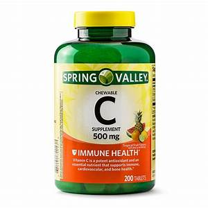 Spring Valley Vitamin C Chewable Tablets  Tropical Fruit  500mg  200 Ct