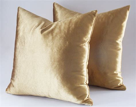 gold throw pillow set of 2 22x22 velvet solid gold pillow covers decorative