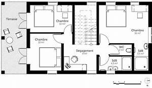 plan maison a etage avec terrasse ooreka With plan maison etage 100m2 0 plan de maison rectangulaire avec etage