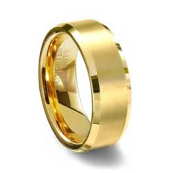 tungsten wedding band gold brushed finish tungsten carbide wedding ring polished beveled edge