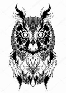 Owl tattoo black and white — Stock Vector © Diana ...