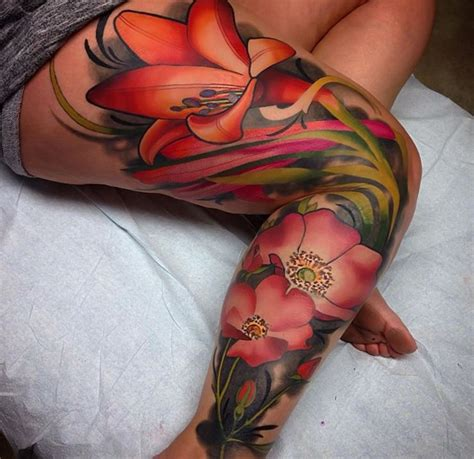 beautiful flowers tattoo  leg sleeve