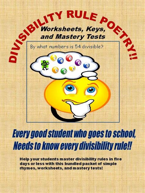 divisibility poetry worksheets and mastery