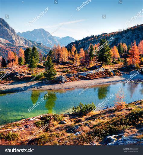 Bright Autumn View Limides Lake Lagazuoi Stock Photo