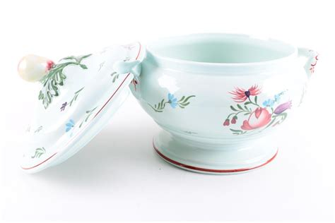 Hand Painted Lowestoft Style Crown Devon Soup Tureen And