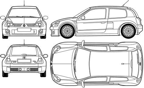 car blueprints renault clio sport v6 blueprints vector drawings clipart and pdf templates