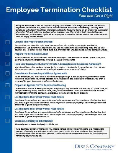 employee termination checklist hr human resources