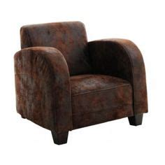 Fauteuil Club Microfibre Fly by Salon Panoramique Messina Aspect Cuir Vieilli Marron Sb