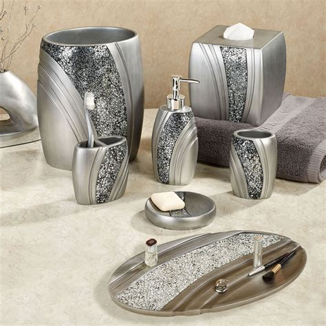 mosaic bathroom decor brilliance mosaic silver gray bath accessories