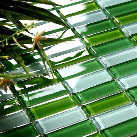 crystal glass tile brick strip kitchen backsplash tiles green glass mosaic wall stickers