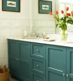 teal cabinets cottage bathroom house home