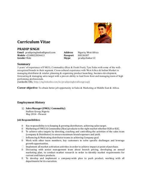 Sle Of A Curriculum Vitae by Curriculum Vitae For Sales Manager