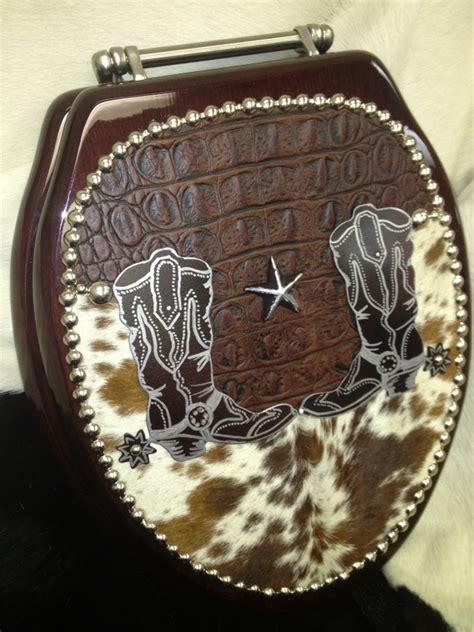Cowhide Toilet Seat by Cowboy Boots And Spurs Western Cowhide Toilet Seat