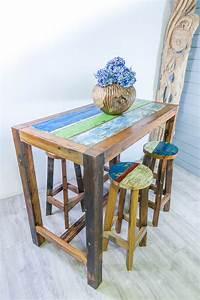 Table Haute En Bois : table haute mange debout en bois de bateau ~ Dailycaller-alerts.com Idées de Décoration