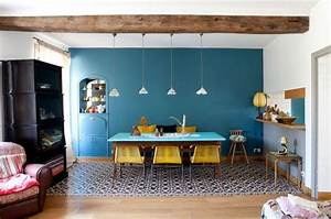 waouuh la totale mur bleu canard jaune en touches deco With carreau deco