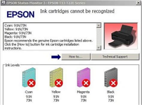 Epson ink cartridges cannot be recognised