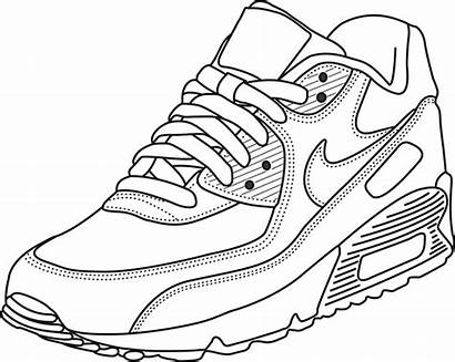 Nike Coloring Air Drawing Max Pages Shoe