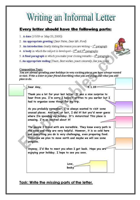 informal friendly letter esl worksheet  pirchy