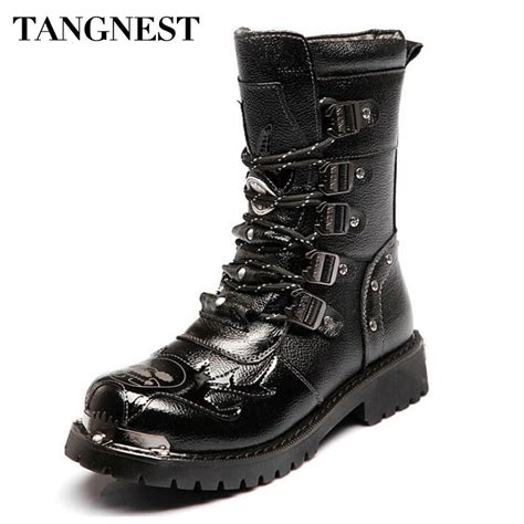 Tangnest Men Genuine Leather Boots Man Military
