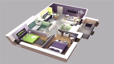 Simple Modern House Floor Plans 3d