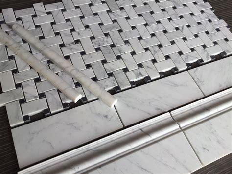 bathroom baseboard ideas basketweave marble tile the builder depot
