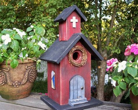 Country Primitive Church Birdhouse Red Steeple By