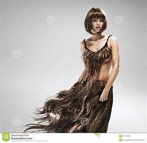 Young Woman Wearing Dress Made Of Hair Stock Photo - Image ...