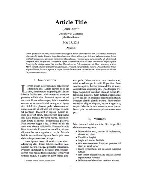 latex templates articles