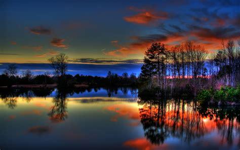 beautiful colorful paulk lake sunset nature lakes hd