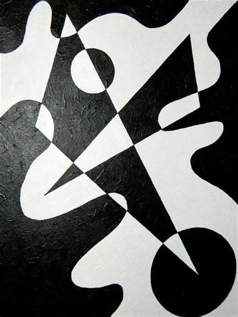 Abstract Black Shapes by Black White Geometric Abstract Shape Painting By