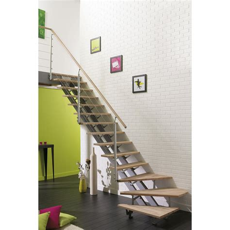 photo escalier quart tournant escalier quart tournant escatwin structure aluminium marche bois leroy merlin