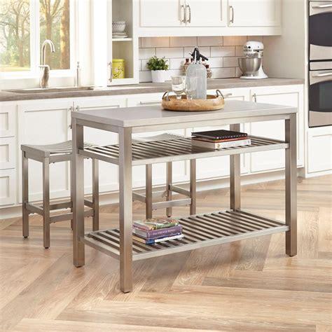 kitchen island metal home styles brushed satin stainless steel kitchen island
