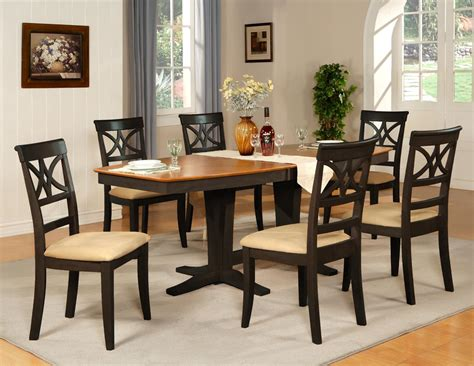 black dining room table 7pc dinette dining room table w 6 microfiber padded