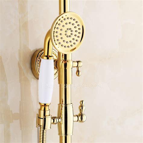 vintage polished brass shower faucet fixtures  bathroom