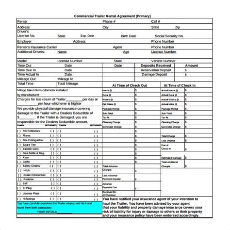trailer rental agreement templates  sample