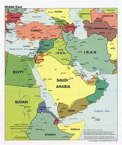 Detailed political map of the Middle East with major ...