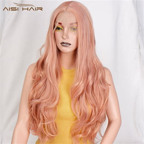 wig long wavy pink synthetic front lace wig ombre
